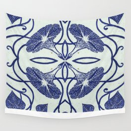 Blue Morning Glory Wall Tapestry