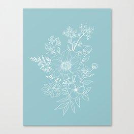 Light Blue Botanical Line Drawing Canvas Print