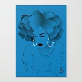 Blue Afro Canvas Print