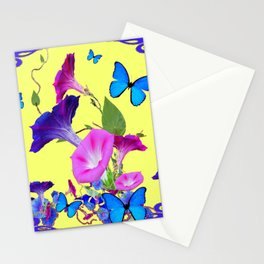 Blue Purple Morning Glories Butterfly Art Noveau Stationery Cards