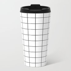 White Black Grid Minimalist Metal Travel Mug