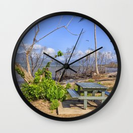 Picnic by the shore Wall Clock