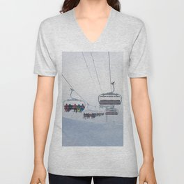 Skiers on chairlift, Alps Unisex V-Neck