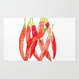 Watercolor Chilies Rug