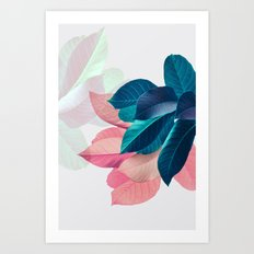 Pink and Blue Leaf Art Print
