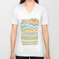 blanket V-neck T-shirts featuring Grandma's blanket by Tonya Doughty