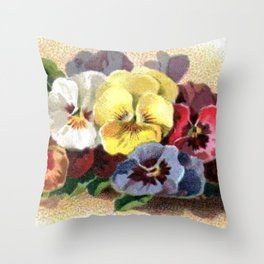 Vintage Pansies Throw Pillow