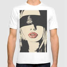 Red Lips - sexy girl blindfolded, sensual erotic, BDSM slave woman, fetish mask, beautiful blonde White Mens Fitted Tee MEDIUM