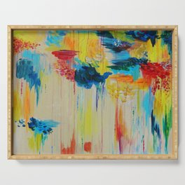 VANCOUVER RAIN - Stunning Rainbow Colorful Bold bright Rain Clouds Stormy Day Wow Abstract Painting Serving Tray
