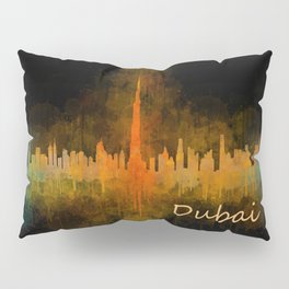 Dubai, emirates, City Cityscape Skyline watercolor art v4 Pillow Sham