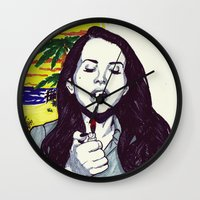 ultraviolence Wall Clocks featuring The Sad Girl by Robert Red ART
