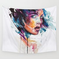 faces Wall Tapestries featuring sheets of colored glass by agnes-cecile