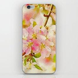 Spring Botanical CrabApple Blossoms Waterlogue iPhone Skin