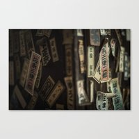 stickers Canvas Prints featuring Kyoto Name Stickers 2 by Jason Halayko