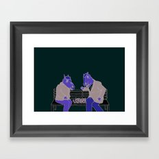 A two horse race Framed Art Print