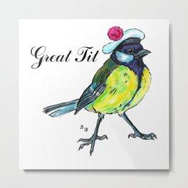 Great tit in white beret Metal Print
