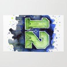 12th Man Seahawks Seattle Go Hawks Art Rug
