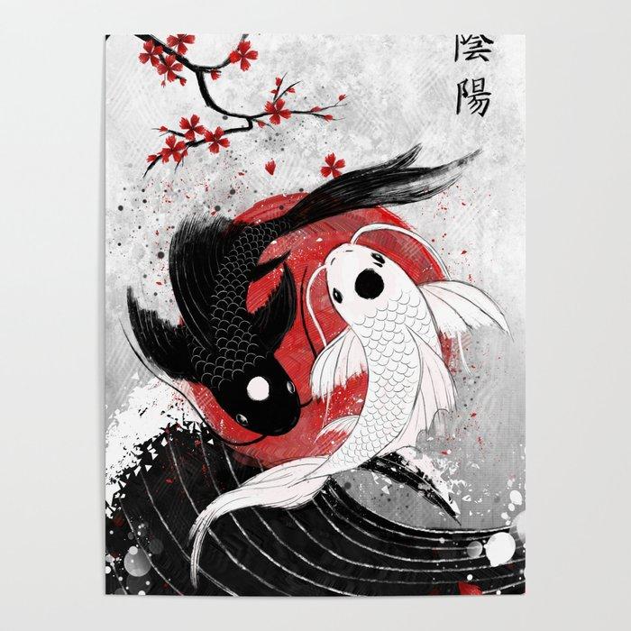 Koi Fish Yin Yang Poster By Rubyartwork Society6