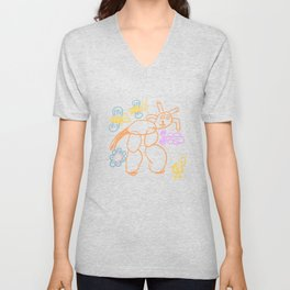 Funny ox in the filed  with butterflies anda chich, kid's like drawing vector illustration Unisex V-Neck