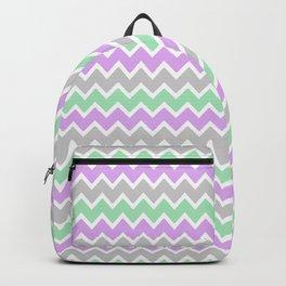Purple Green Gray Chevron  Backpack