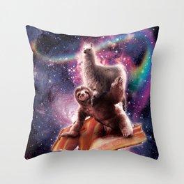 Rainbow Space Llama On Sloth Riding Bacon Throw Pillow