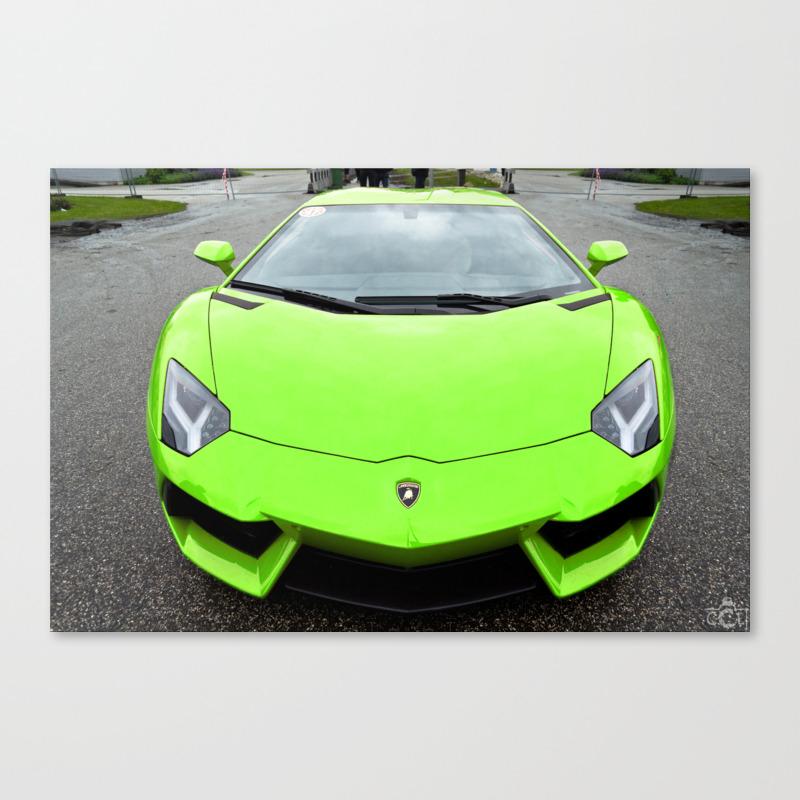 Lamborghini Aventador LP700,4 Green car Canvas Print