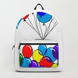 A Bouquet of Multi-Colored Balloons tied in a Bow Backpack
