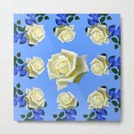 WHITE ROSES BLUE GARDEN DESIGN Metal Print