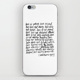 love is patient, love is kind iPhone Skin