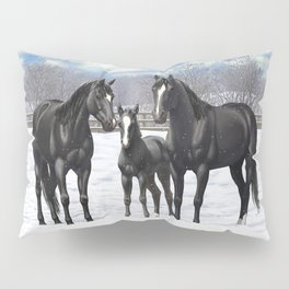 Beautiful Black Quarter Horses In Snow Pillow Sham