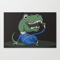trex Canvas Prints featuring Fantastic Mr. TRex [dark] by Megan Yiu