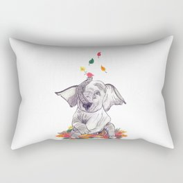 Baby elelphant and leaves Rectangular Pillow