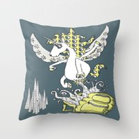 backpack Throw Pillows featuring Magical Mystery Backpack by Amy Gale
