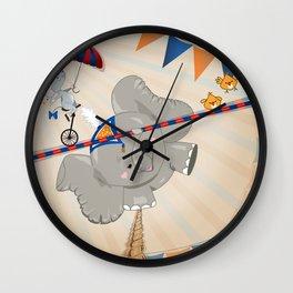 Elephant on tightrope Wall Clock