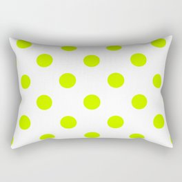 Polka Dots - Fluorescent Yellow on White Rectangular Pillow