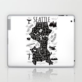 Seattle Illustrated Map in Black and White - Single Print Laptop & iPad Skin