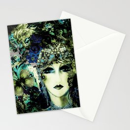 ART DECO FLAPPER COLLAGE POSTER PRINT 70S ROSES BIRDS BUTTERFLIES LADY Stationery Cards