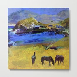 Horses in the Meadow, Carmel, California coastal landscape painting by George Wesley Bellows Metal Print