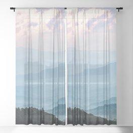 Smoky Mountain National Park Sunset Layers - Nature Photography Sheer Curtain