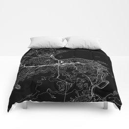 Rio De Janeiro Black Map Comforters