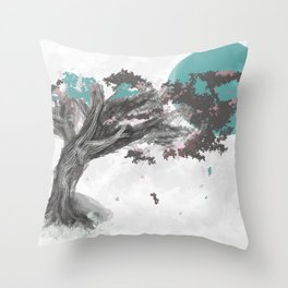 Turquoise Blossom Tree Throw Pillow