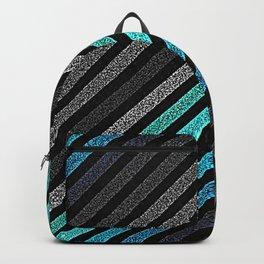 stripeS : Slate Gray Teal Blue Pixels Backpack