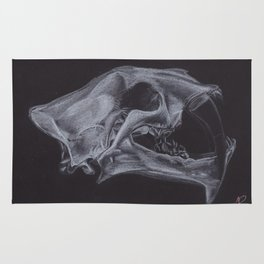 White pencil sabre-toothed tiger smilodon skull drawing Rug