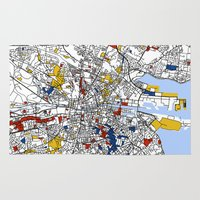 mondrian Area & Throw Rugs featuring Dublin mondrian by Mondrian Maps