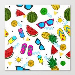Modern Summer Elements Pattern Art Canvas Print