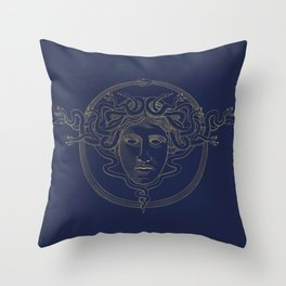 medusa / gold minimal line logo on navy background Throw Pillow