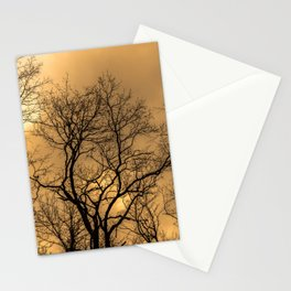 Haunting forest, orange sky Stationery Cards