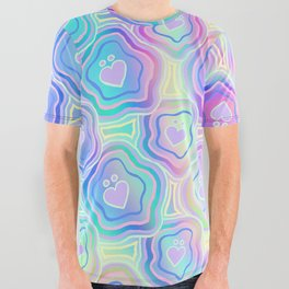 'I Love You Umlaut' Valentine's Pattern - Morning Iridescence All Over Graphic Tee