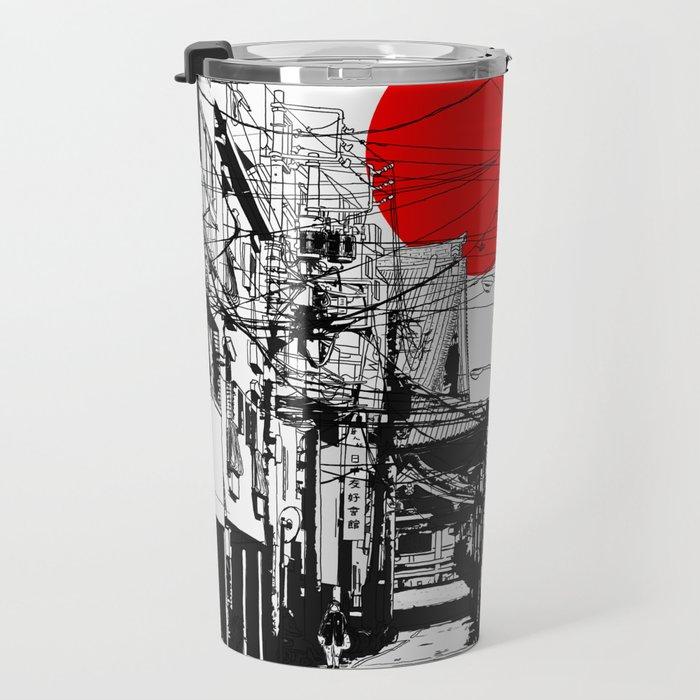 Tokyo street sunrise Travel Mug