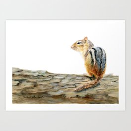 Little Chip - a painting of a Chipmunk by Teresa Thompson Art Print